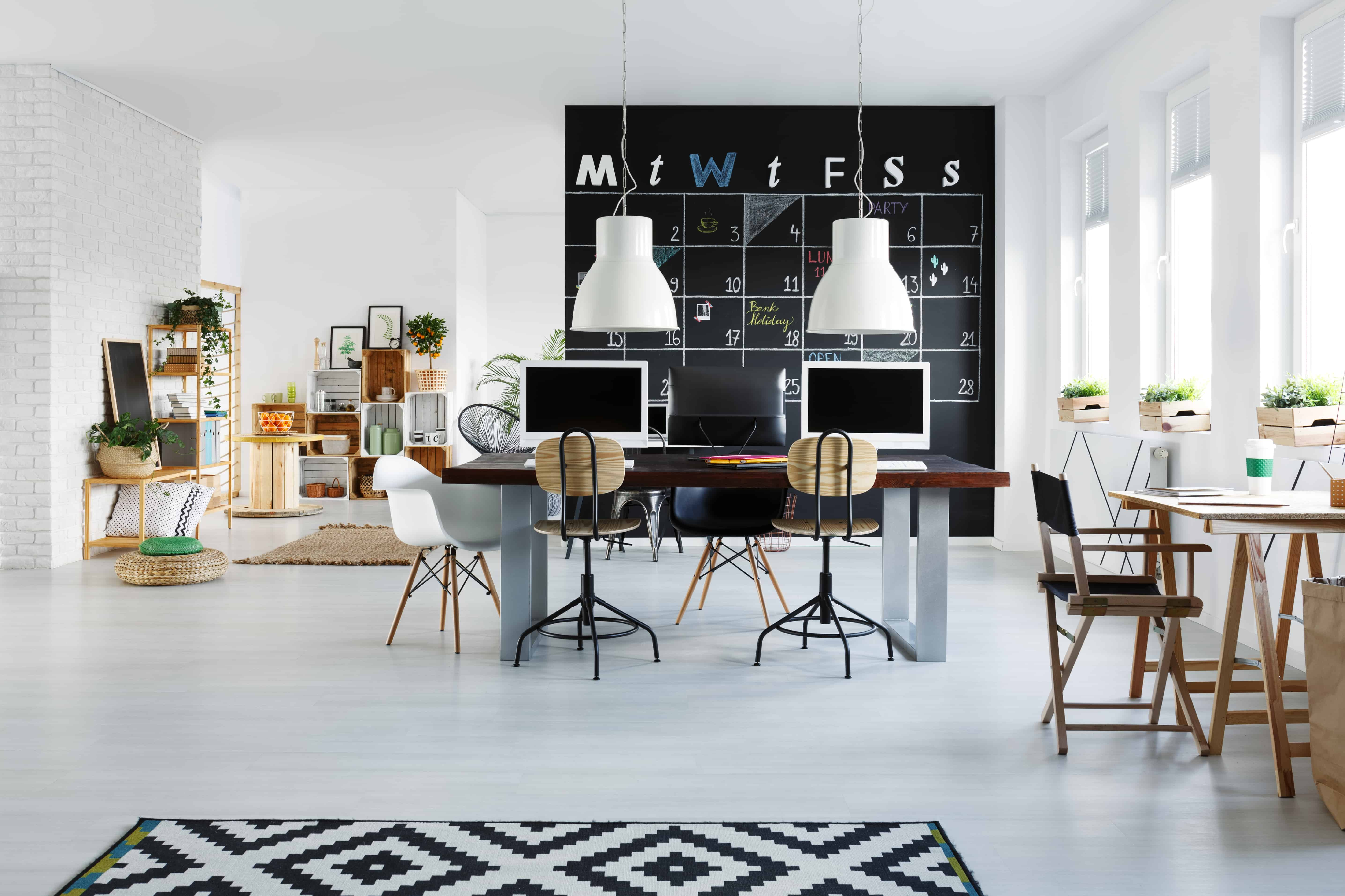 White office interior with desk