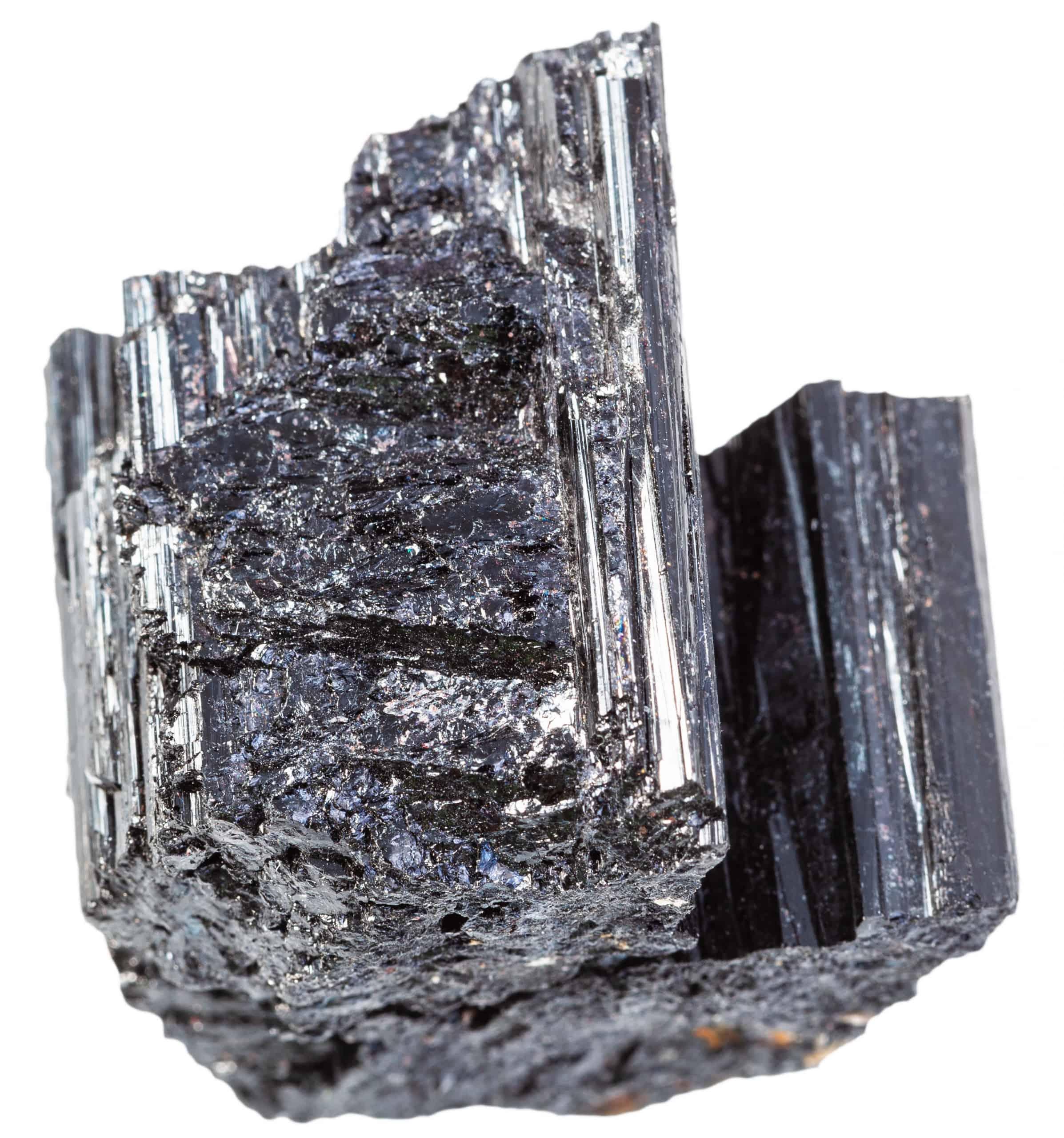 unpolished Schorl (black Tourmaline) rock isolated - positive mindset