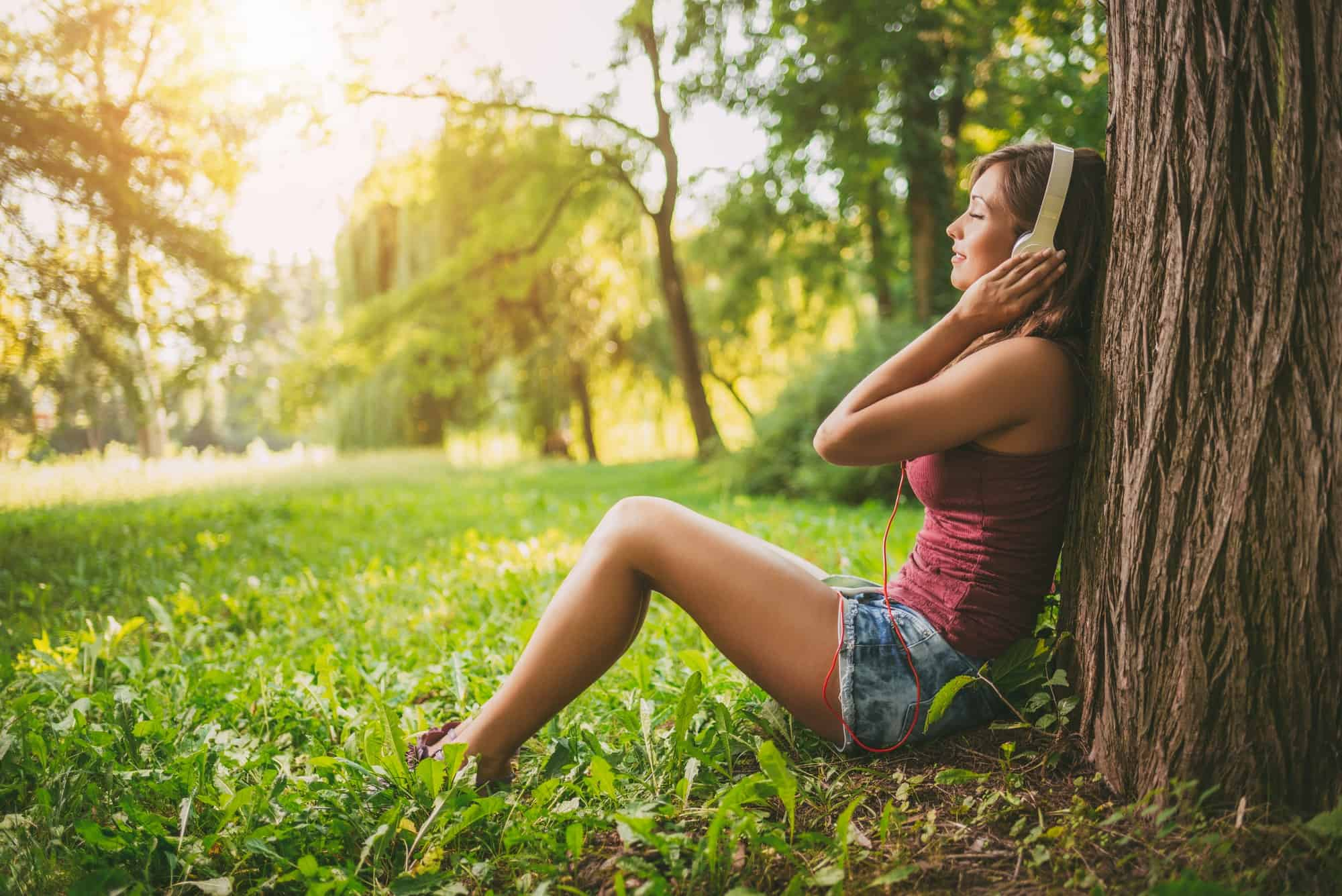 Listening Music In The Nature - positive mindset