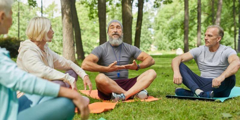 Demonstrating Yoga Breath Exercise