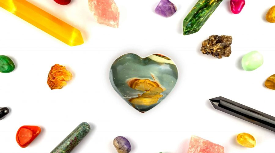Natural gem geological crystals and stones on white background